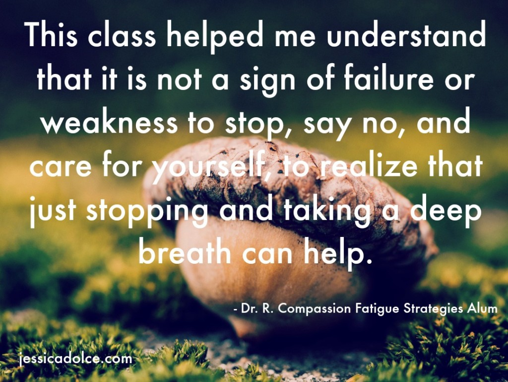 compassion fatigue strategies class testimonial